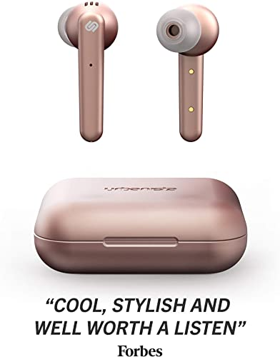 Urbanista Paris True Wireless Earphones 20H Playtime Wireless Charging Case, Bluetooth 5.0, Noise Cancelling Earphones with Touch Controls Built-in Mic, Compatible with Android and iOS Rose Gold