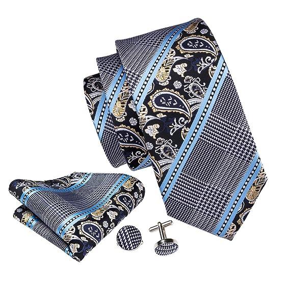 Barry.Wang - Juego de corbata y pañuelo de bolsillo azul para ...