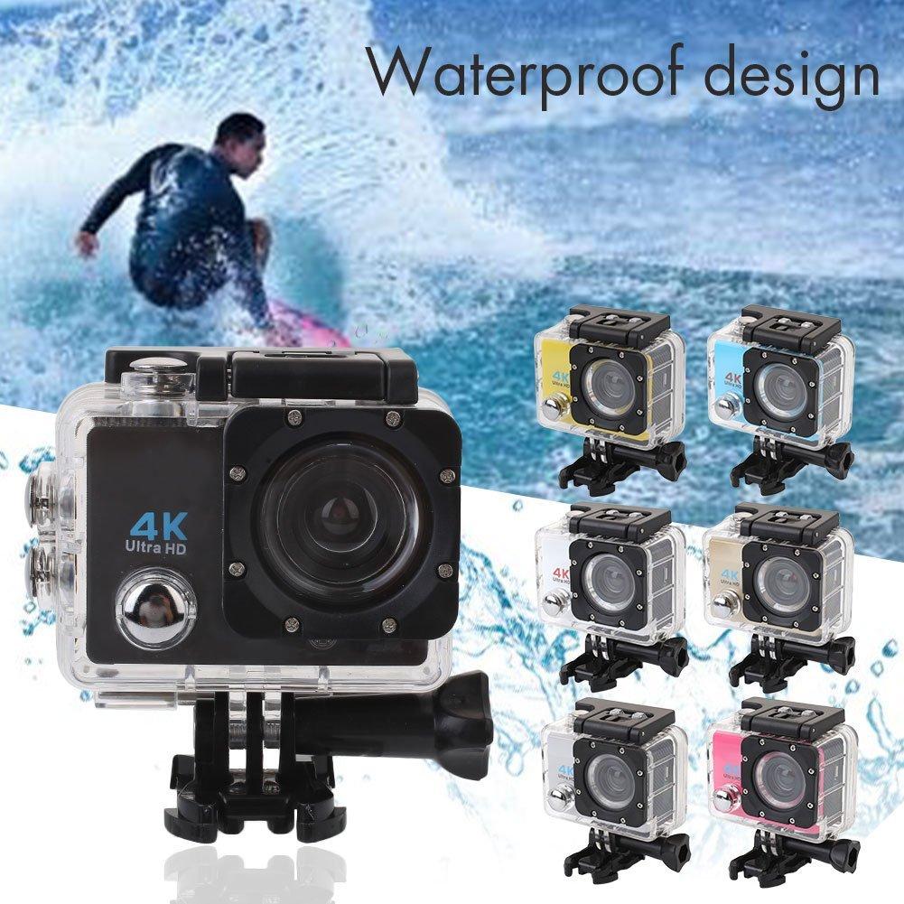 Cewaal (Black) Action Camera, 4K Ultra HD Waterproof Sport Camera 2 Inch LCD Screen 12MP 90 Degree Wide Angle