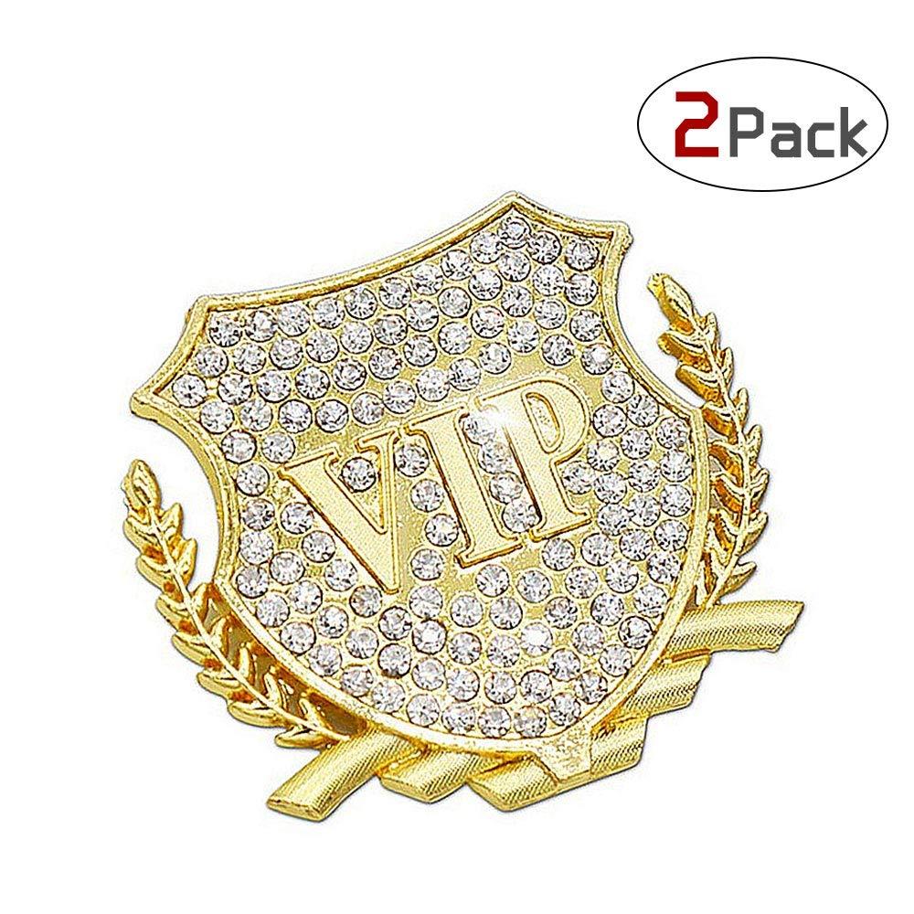 Gl/änzende Diamond Car Emblem /× 2 Pack Metall Aufkleber VIP Silber Bling Auto Dekoration Aufkleber 3D Aufkleber Ehrenwerte VIP