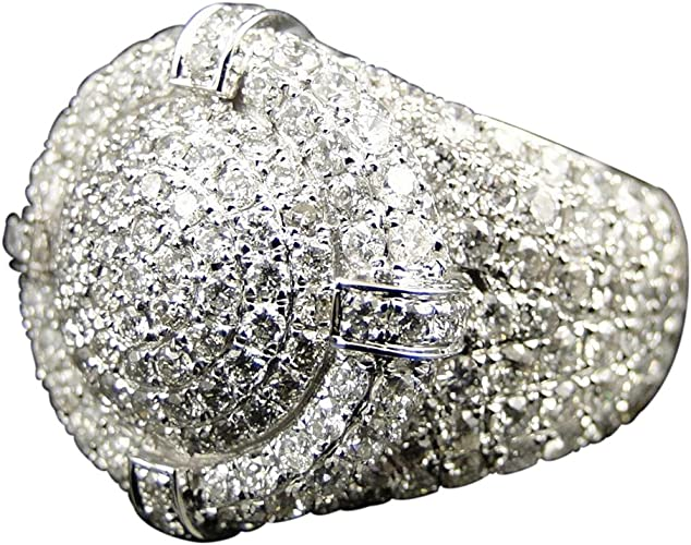 TVS-JEWELS White Platinum Plated 925 Sterling Silver in Round Cut Simulated Diamond Engagement Ring