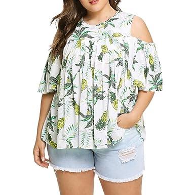 fa0b3ec086f70c BCDshop Women Summer Short Sleeve Pineapple Print Cold Shoulder T Shirt  Tops Blouse Plus Tee (