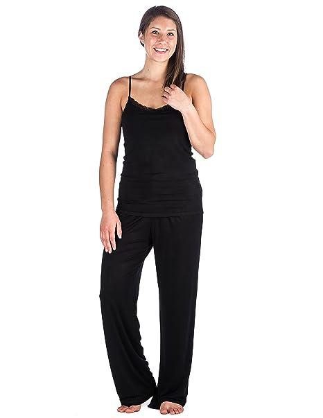 Homewear Pijama con Camisón de Rayón Cool Knit para Mujer - Negro - M