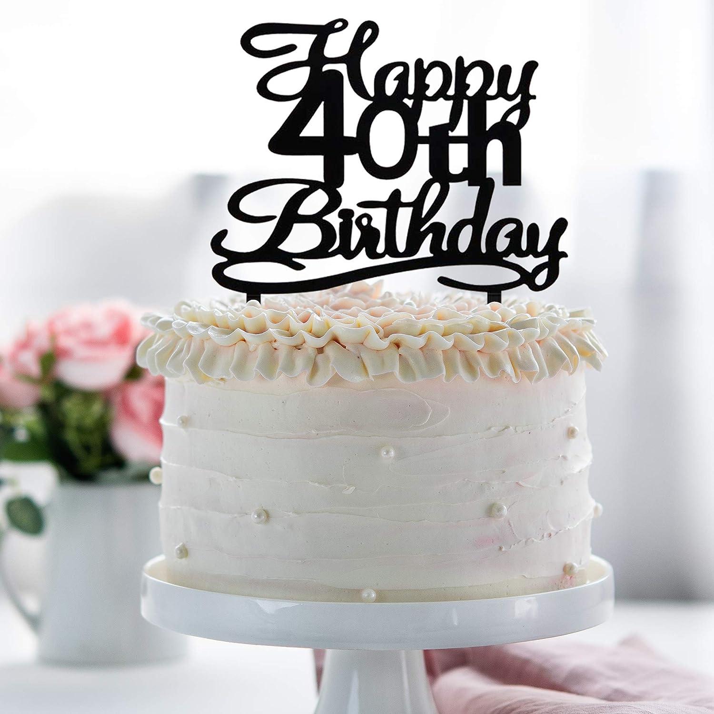 Marvelous Happy 40Th Birthday Cake Topper Black Acrylic Cake Topper Number Funny Birthday Cards Online Bapapcheapnameinfo