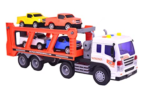 Buy Lukas Push and Go Truck Trailer with 4 Mini Pickup Cars