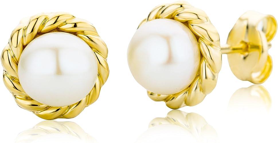Pendientes con oro amarillo y perla cultivada de agua dulce