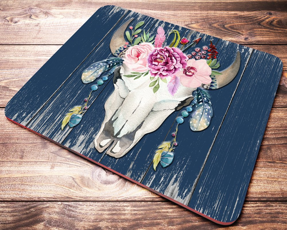 Bull Head Boho Mouse Pad Bohemian Watercolor Flowers Floral Mousepad Office Desk Accessories Supplies Decor 8.7'' x 7.08'' inch by Wagroo (Image #1)