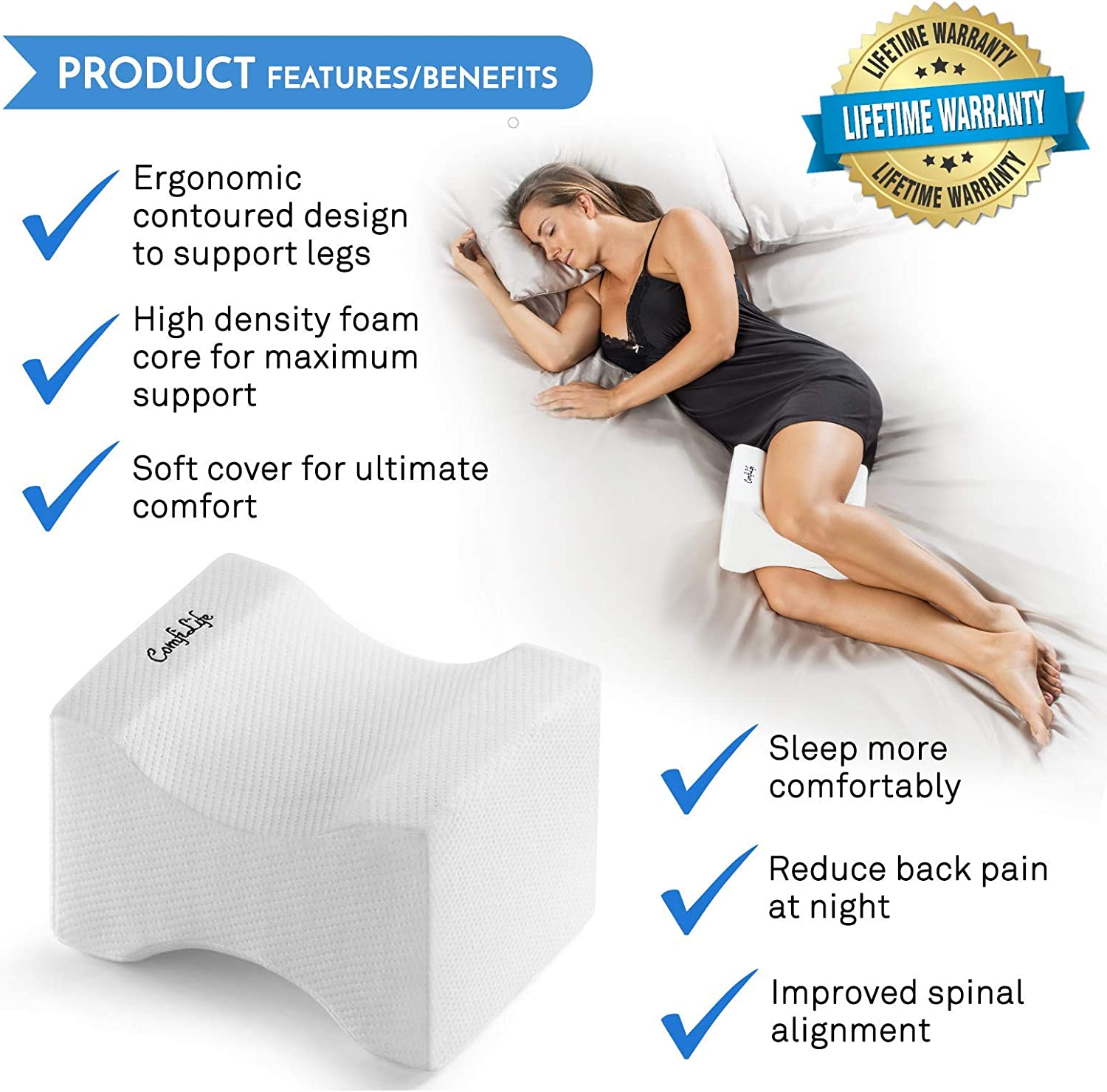 Amazon Com Comfilife Orthopedic Knee Pillow For Sciatica Relief