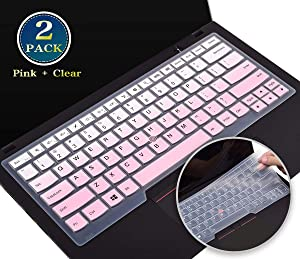 for Lenovo Thinkpad x1 Carbon 7th Keyboard Cover Skin, Silicone Keyboard Cover Protector for Lenovo Thinkpad x1 Yoga 3rd 2019, Thinkpad T490 T490s T495 T480 T470 T460 A475(Pink+Clear)