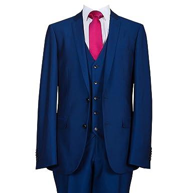 para Hombre Azul 3 Piezas Traje de Slim Fit Azul Azul 28 ...
