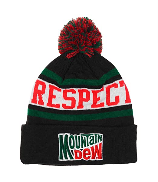 d5a6f6ccafe Mountain Mtn Respect The Dew Soda Pop Pom Word Mark Knit Beanie Toque  Cuffed Hat  Amazon.ca  Clothing   Accessories