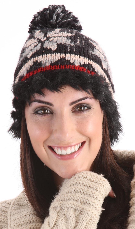 188b019000e RJM Ladies Black Red Grey Fairisle Knitted Bobble Beanie Hat With Faux Fur  Trim  Amazon.co.uk  Clothing