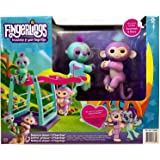 WOW Monkey Bar & Swing Playset w/ Two Cute & Brightly Colored Fingerlings, Monkey Savannah & Sloth Clara – Interactive Finger Toys Great for Hours of Fun for Kids