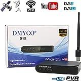 DMYCO Decodificador Satelite Receptor de TV por Satélite DVB S2 , Soporte Cccam FTA Antena Parabólica PowerVu Biss Key Youtube + RT5370 USB Wifi Antenna