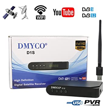 DMYCO DVB-S2 FTA Satellite Receiver TV Tuner, Mpeg-4 Decoder Digital Sat  receiver, Work with LNB Satellite Dish, Support Free Channel PVR Ready