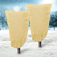 Deyard 2Pack Plant Freeze Protection Covers, Winter Plant Frost Cover Blanket Jacket for Plants Trees Shrub with Drawstring, Upgraded Thickness Plant Cover for Winter (47.24