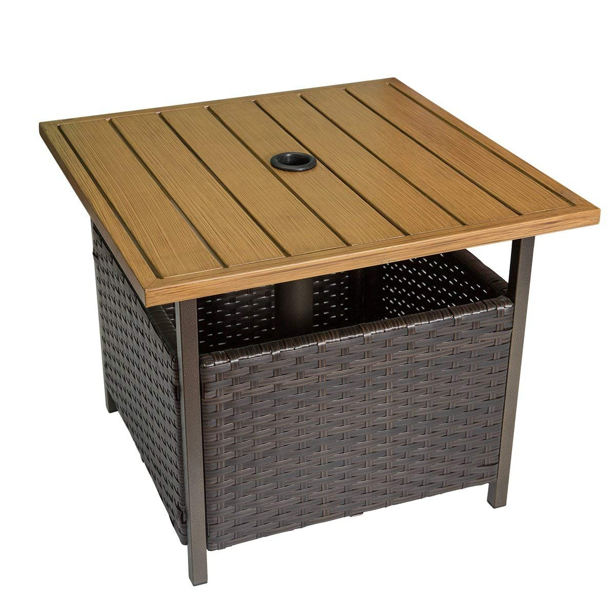 Marble Field Patio Wicker Bistro Dining Table, Square Umbrella Table with Storage Space, Garden Leisure Coffee Side Table