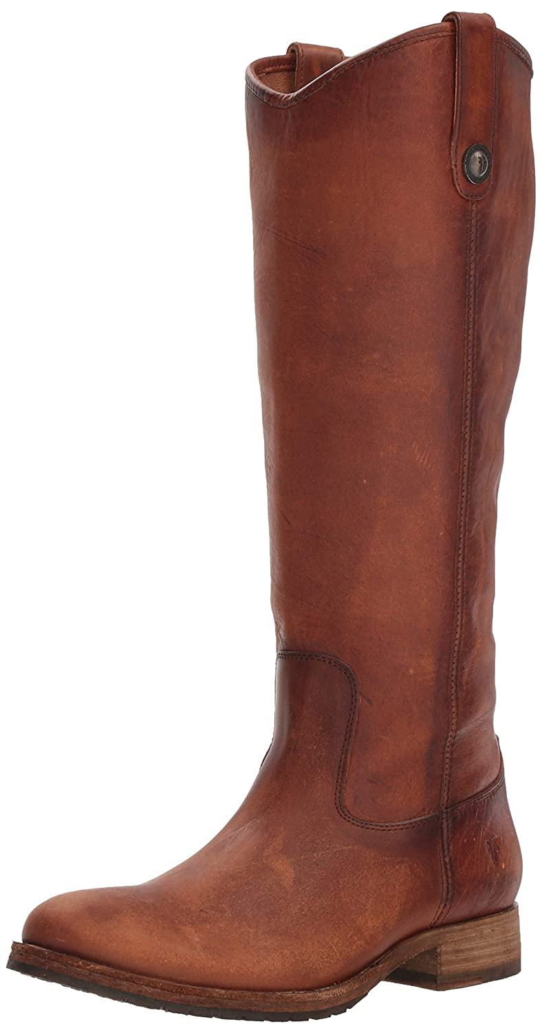 Cognac Frye Womens Melissa Button Lug Tall Knee High Boot