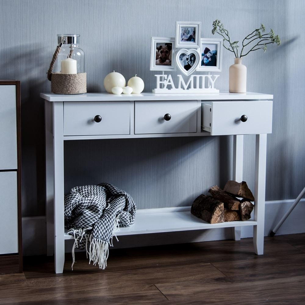 Home Discount Windsor 3 Drawer Console Table With Shelf, White Wooden Hallway Living Room Bedroom Dressing Dresser Desk Furniture