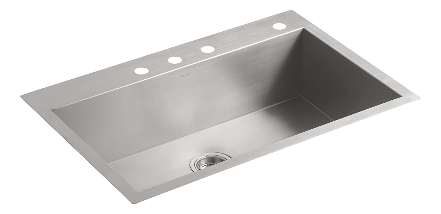 """KOHLER Vault 33"""" Single Bowl 18 Gauge Stainless Steel Kitchen Sink with Four Faucet Holes K-3821-4-NA Drop-in or Undermount Installation, 9 Inch Bowl"""