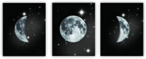 Moon Phases Poster Moon and Stars Wall Decors Kids Wall Decor Baby Room Decoration Nursery Wall Decor(Unframed)