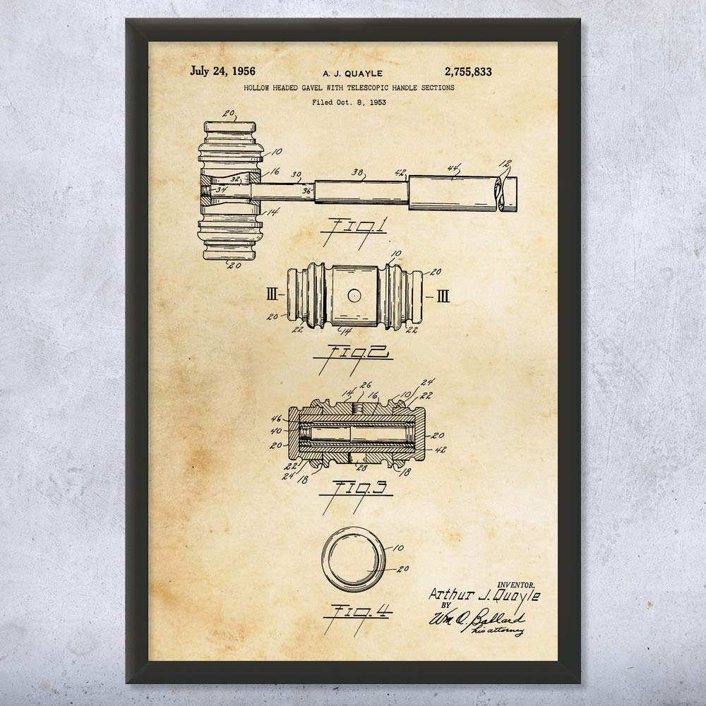 Framed Judges Gavel Print, Attorney Gifts, Paralegal, Judge Gift, Lawyers Office, Bailiff Gifts, Courthouse Art Vintage Paper (11'' x 14'') by Patent Earth