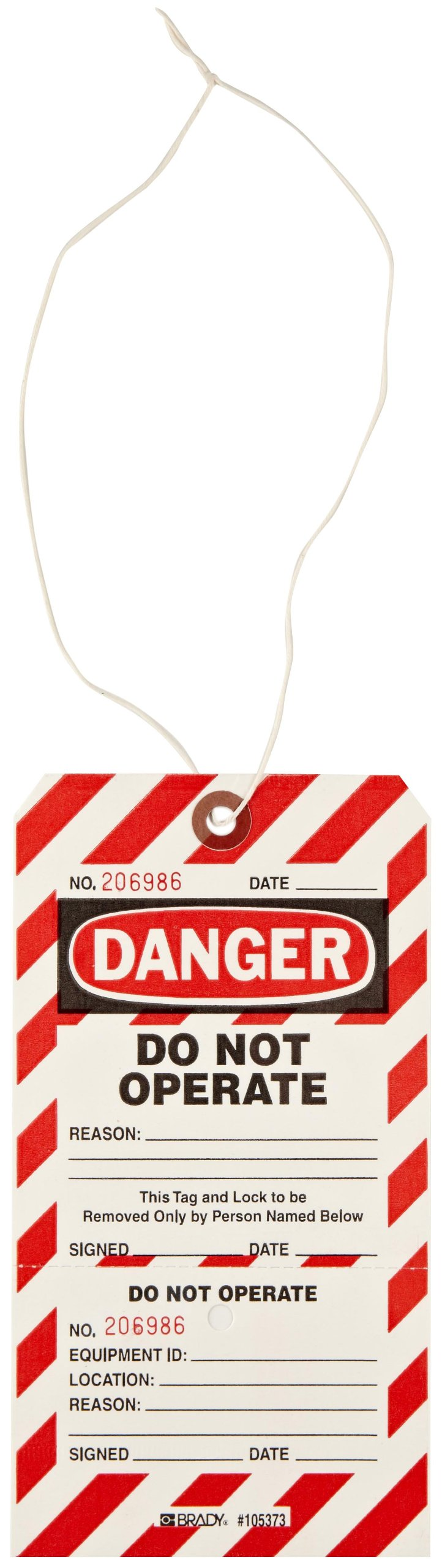 Brady Two-Part Perforated ''Danger - Do Not Operate'' Tag, Cardstock 7-1/2'' Height, 4'' Width (Pack of 25)