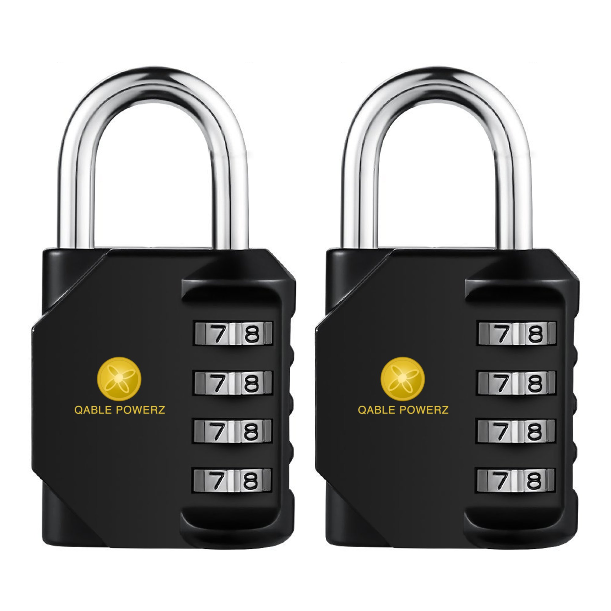 Combination Lock, Pack of 2 Heavy Duty 4 Digit Anti Rust Weather-Proof Key Less Padlock Metal & Plated Steel Combination Lock for Home, School Gym Locker, Fence, Toolbox, Cabinet (Black)