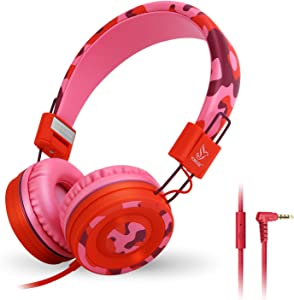 Yomuse C89 On Ear Foldable Headphones with Microphone, Adjustable Headband for Kids Adults, iPhone iPad iPod Computers Tablets Smartphones DVD, Camo Pink