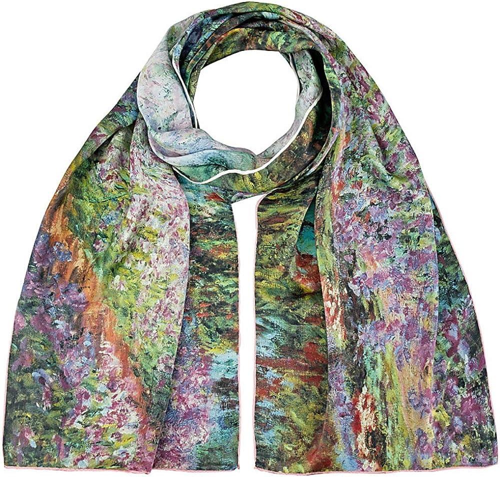 Der Garten VON LILIENFELD Seidenschal Damen Satin lang Motiv Kunst Claude Monet