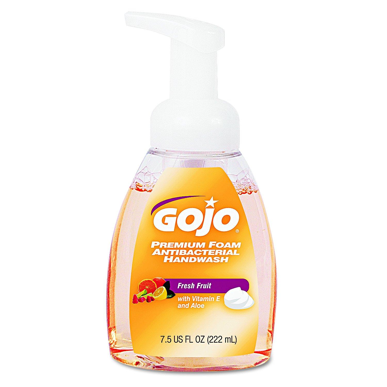 GOJO 571006CT Premium Foam Antibacterial Hand Wash, Fresh Fruit Scent, 7.5 oz Pump (Case of 6)