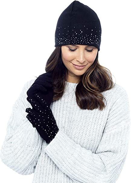 LADIES WOMENS HAT AND GLOVE SET WITH DIAMANTES WINTER COZY BY FOXBURY ONE SIZE