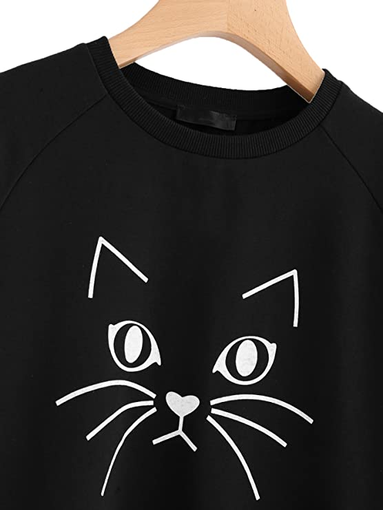 41e688b8aa83a Amazon.com  Romwe Women s Cat Print Sweatshirt Long Sleeve Loose Pullover  Shirt  Clothing
