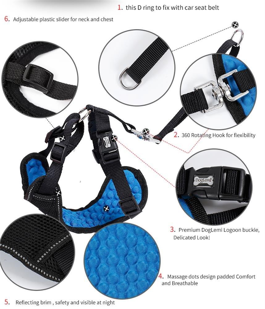 Petneces arn/és de masaje Arn/és de seguridad para perro con cinturones de seguridad para el coche calidad superior ajustable multifunci/ón