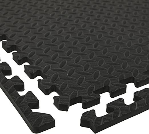 Amazon Com Incstores Diamond Soft Extra Thick Anti Fatigue Interlocking Foam Tiles 2ft X 2ft Tiles Ideal For Laundry Room Flooring Kitchen Mats Exercise Mats And Garage Mats Black 1 Tile Pack