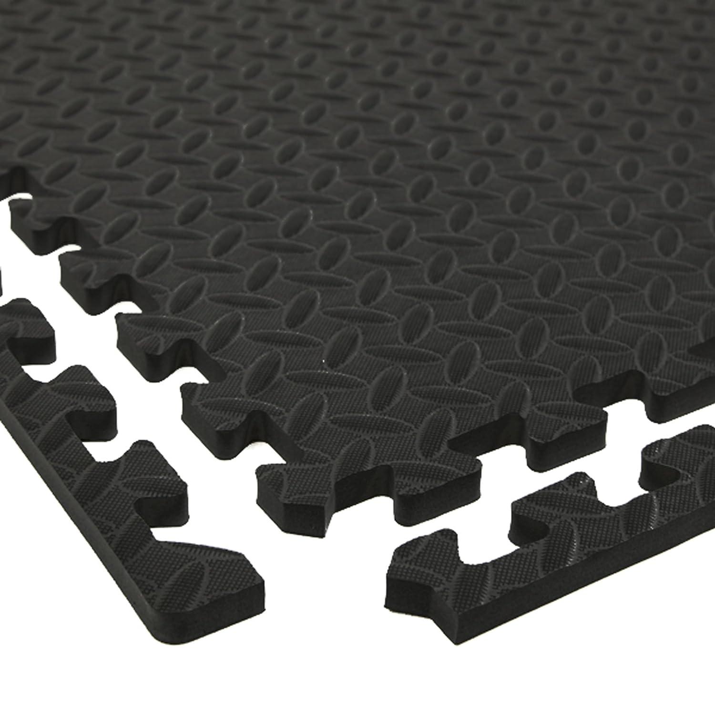 IncstoresダイヤモンドソフトExtra Thickアンチ疲労酷使Foamタイル – 2 ft x 2 ftタイルIdeal for Laundry Roomフローリング、キッチンマット、練習マット、ガレージマットand More。。。 ブラック 64 Tile Pack, 256 Sqft