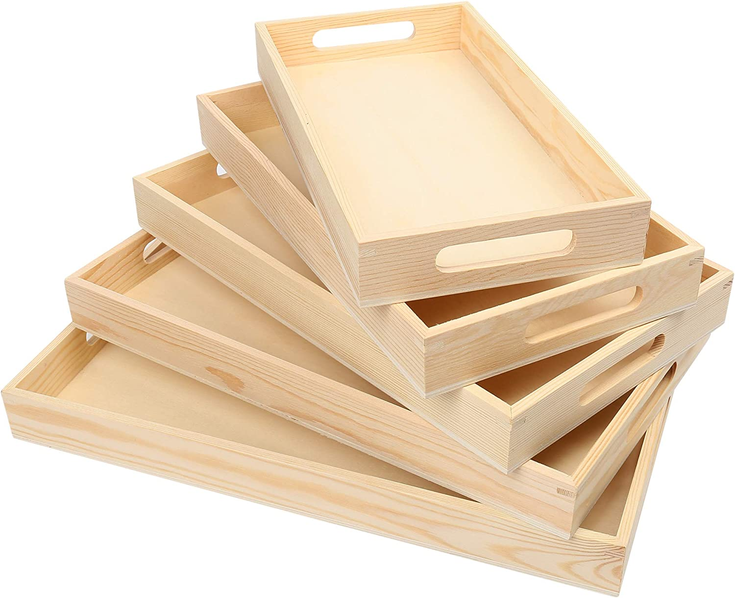 LotFancy 5PC Nesting Wood Trays, Natural Wooden Trays for Craft and Decor, Unfinished Wood Serving Trays with Handles, Organizer Food Tray for Breakfast, Lunch, Dinner