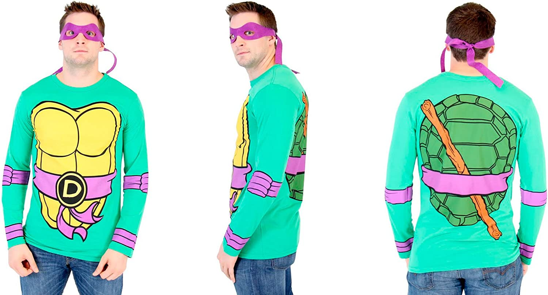 Teenage Mutant Ninja Turtles Long Sleeve Costume Green T-Shirt & Eye Mask