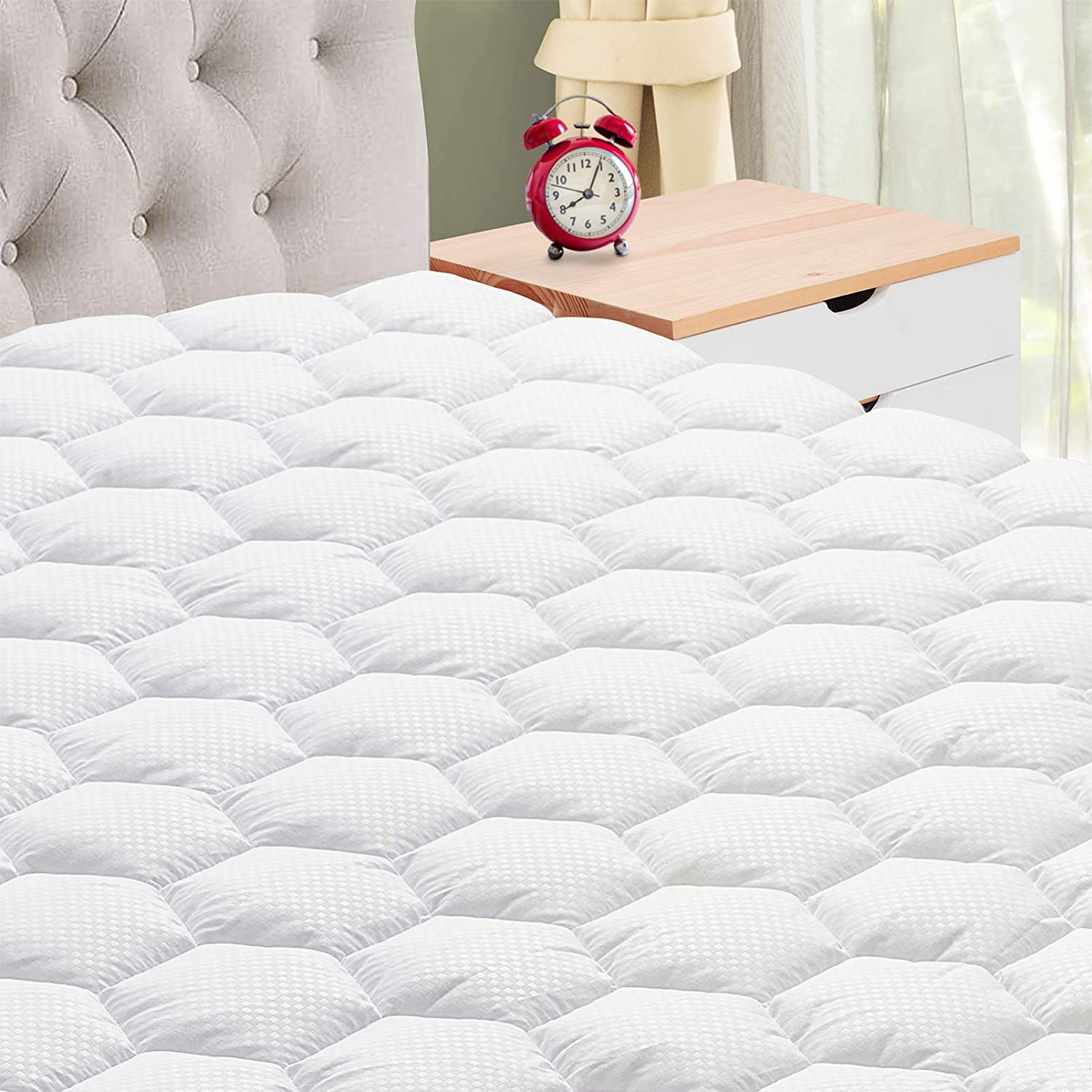 """IXELLES King Mattress Pad Cover, Soft Quilted Pillowtop Mattress Pad, Cooling Mattress Topper with Deep Pocket (8"""" - 21"""")"""