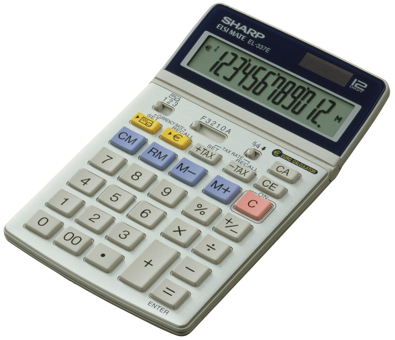 Sharp EL-337C, Semi-desk top calculator with Euro-conversion Desktop Financial calculator Silver - calculators (Semi-desk top calculator with Euro-conversion, Desktop, Financial calculator, Silver, LR-44, 165 g, 108 x 22 x 175 mm) 622443