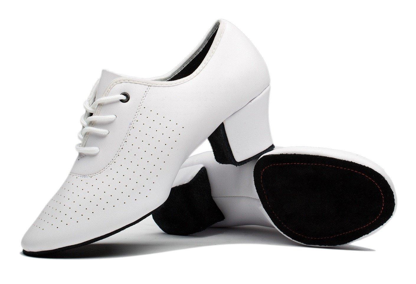 Gogodance Women's Latin Salsa Wedding Dance Shoes Lady's Ballroom Dancing Sneaker White Leather (6US/37)