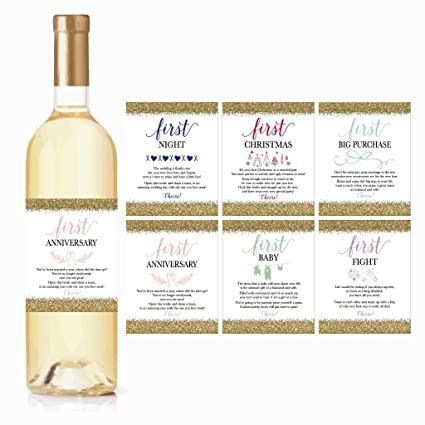 Amazoncom 6 Wedding Milestones Gift Wine Bottle Labels Or Sticker