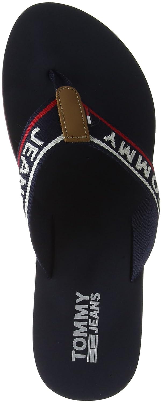 Hilfiger Denim Damen Tommy Jeans Low Beach Sandal Zehentrenner  37 EU|Blau (Tommy Navy 406)