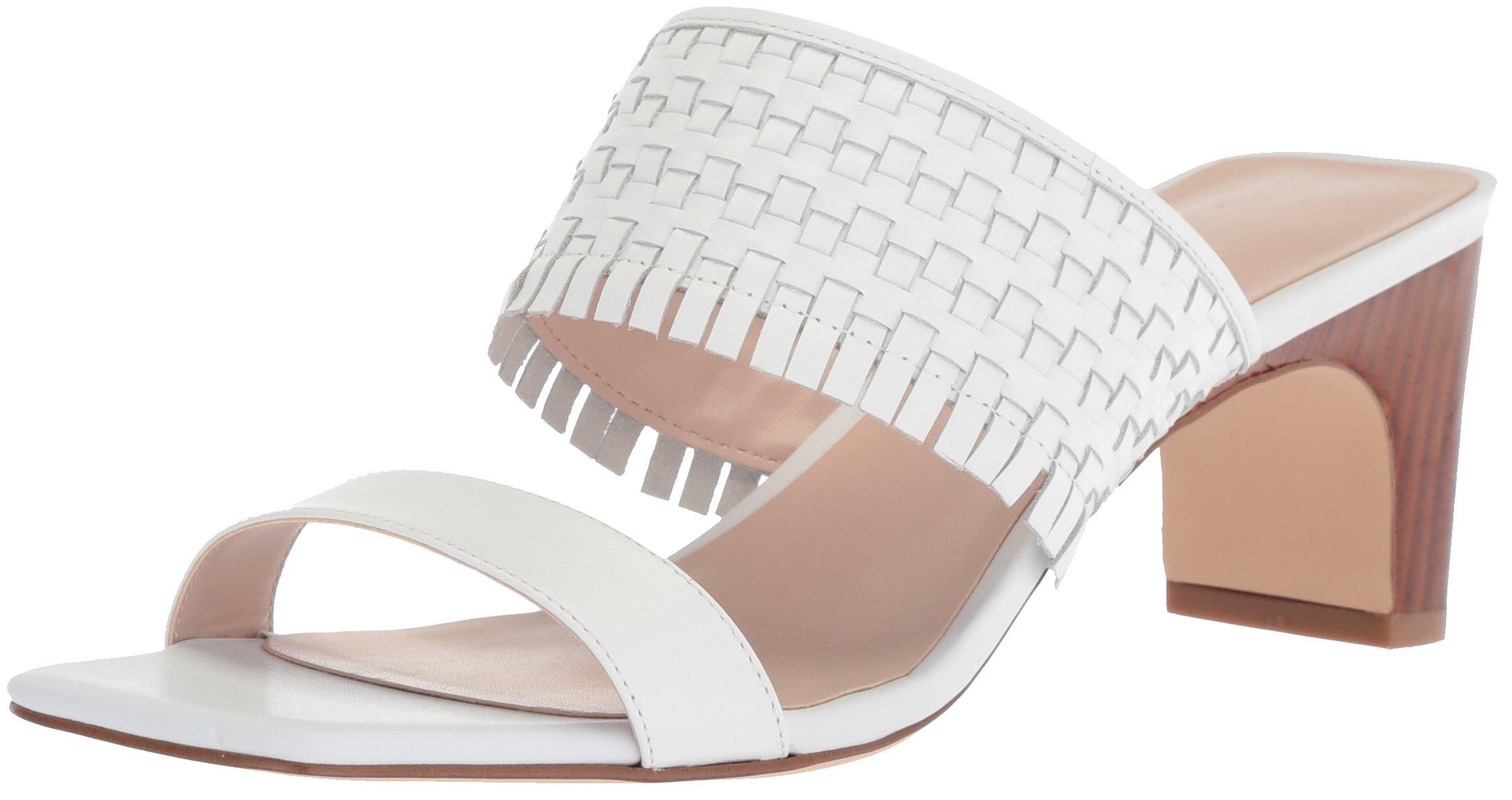 Nine West Women's Nirveli Leather Slide Sandal, White Leather, 6.5 Medium US