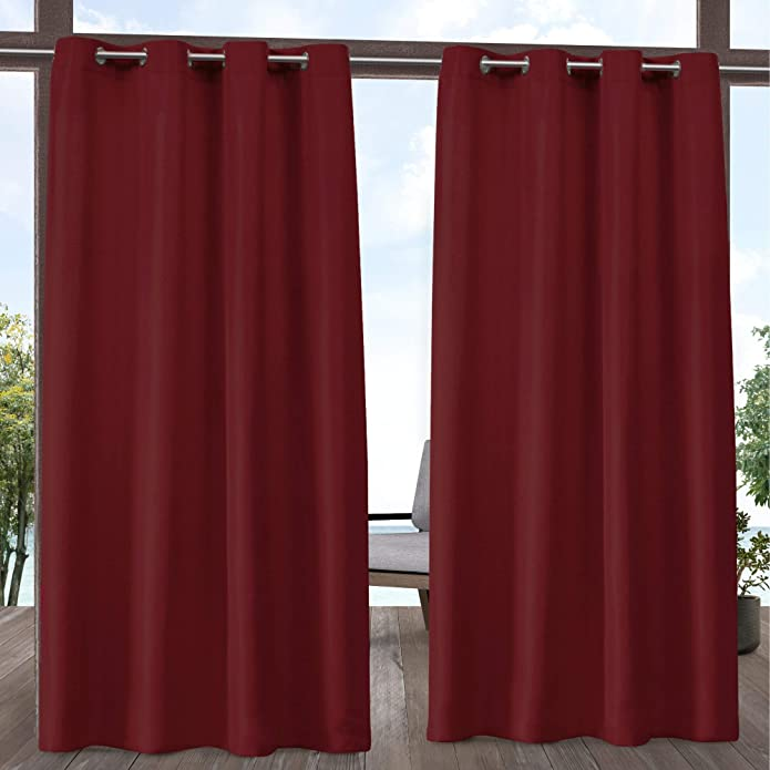 """Set of 2 84""""x54"""" Outdoor Solid Cabana Grommet Top Light Filtering Curtain Panel Radiant Red - Exclusive Home"""