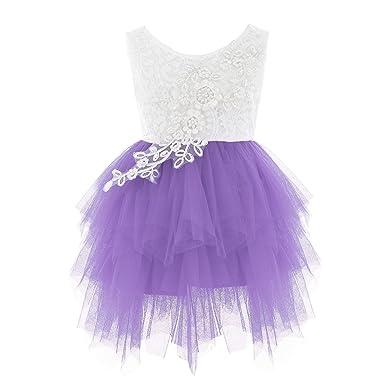 94628de933f23 iiniim Robe de Princesse Mariage Demoiselle d honneur Courte Bébé Fille  Enfant Dentelle Tulle Robe