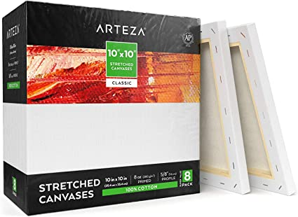 """Acrylic Pouring Bulk Pack of 2 Oil Paint /& Wet Art Media Canvases for Professional Artist Primed ARTEZA 36x48/"""" Stretched White Blank Canvas 100/% Cotton for Painting"""