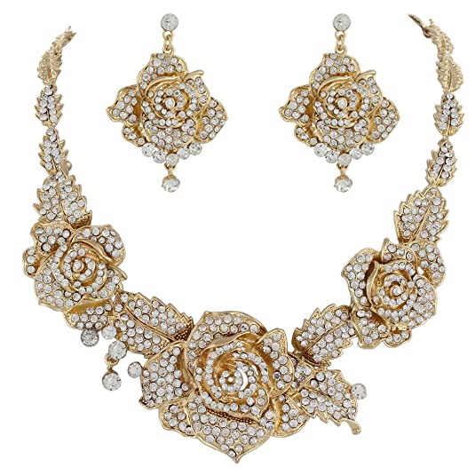 1940s Costume Jewelry: Necklaces, Earrings, Brooch, Bracelets EVER FAITH Womens Austrian Crystal Blooming Rose Flower Necklace Earrings Set for Bride Prom Ball $31.99 AT vintagedancer.com