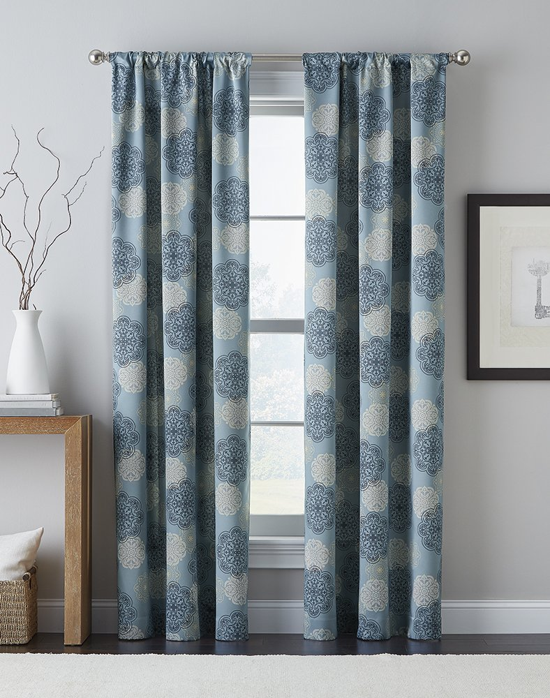CHF 1Q82410ABL Primavera Curtain Panel, Blue, 95""