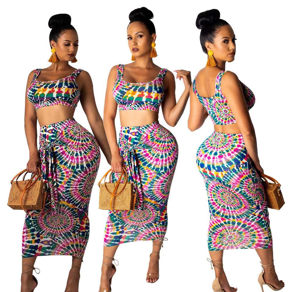 Womens 2 Piece Outfits Crop Top - Sexy Sleeveless Tie Dye Print Tank Bodycon Skirts Set Midi Dress